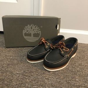 Timberland Navy Amherst 2 Eye Leather Boat Shoes